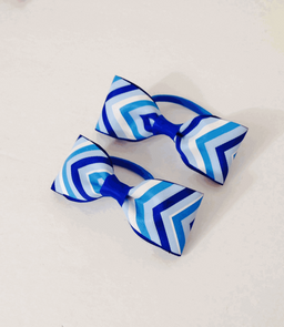 Blue Stripes Hair Bow Head Bands.png