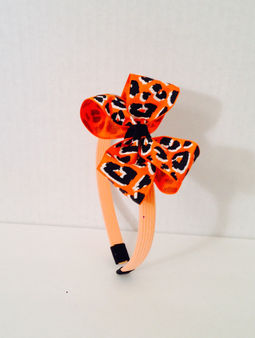 Orange Headband With Zebra Print Hair Bow.JPG