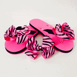 Pink Zebra Boes for Toes Sandals and Hair Bow.png