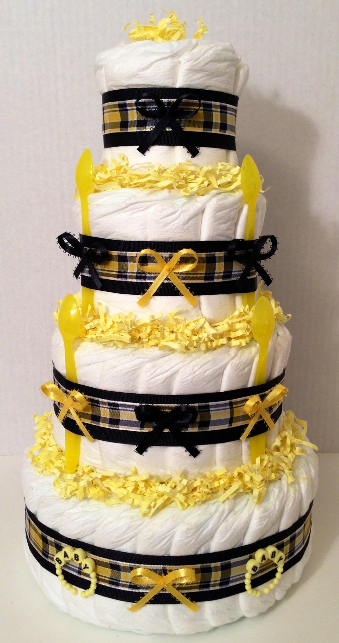 Elegant Black And Yellow Diaper Cake 4 Tier Diaper
