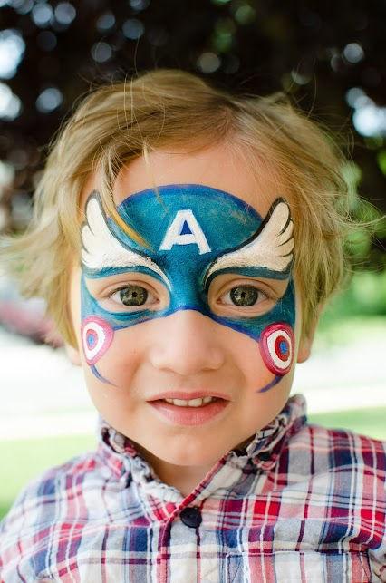 Captain America Face Paint Designs