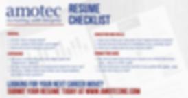 Amotec's Full Resume Check List
