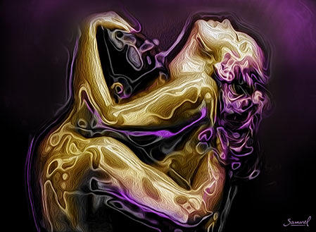 Couple in a spoon love position