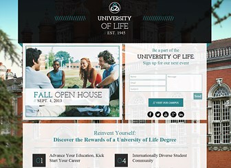 University Landing Page Template - A stylish and contemporary landing page ready to shine a light on your academic institution. Add text to highlight your school's unique features and upload images to offer a glimpse of your campus experience. Create a customized website that will set your college or university apart.