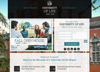 大学パンフレット Template - すっきりとまとまったデザインが特徴の、知的な雰囲気のテンプレートです。キャンパスの写真や学科を紹介して入学生を募集しましょう。