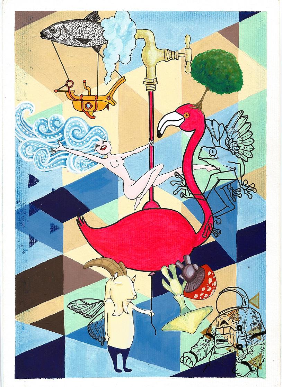 Pole Flamingo Acrylic, ink wate - ivandisimoni | ello