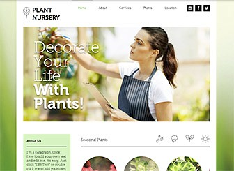 Plant Nursery Template - The fresh design and organic colors of this template await your plant nursery or gardening business. Add photos to create a product gallery and personalize the text to advertise your services and rates. Start editing to spread your roots online!