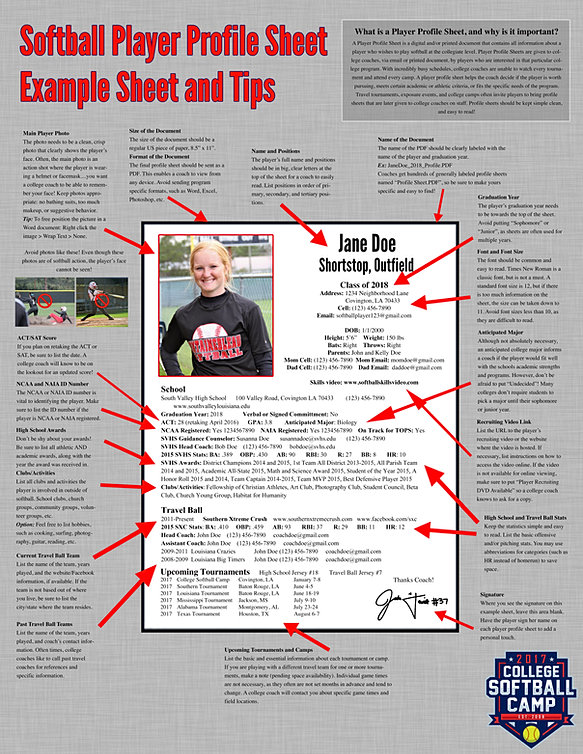 college softball camp player profile sheets. Black Bedroom Furniture Sets. Home Design Ideas