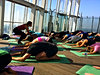 childs pose - Yoga in The Shard Rooftop
