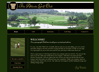 Golf Course  Template - Classically elegant, this template reflects the upscale tone of your country club or golf course.  Showcase your grounds, promote upcoming functions, and advertise your membership rates. Create a tasteful website that represents your establishment!