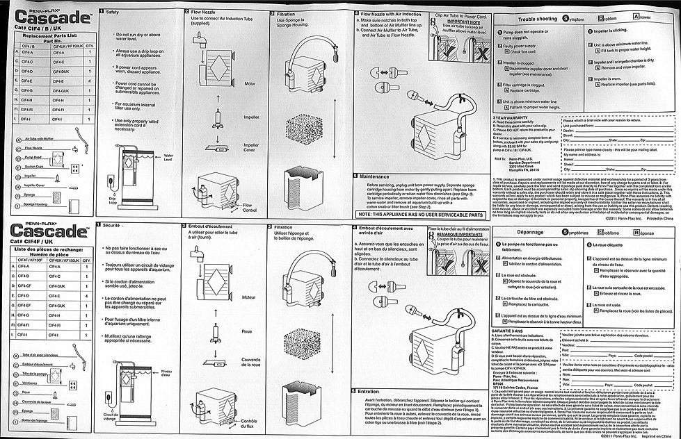 Cascade Aquarium Filter Instructions