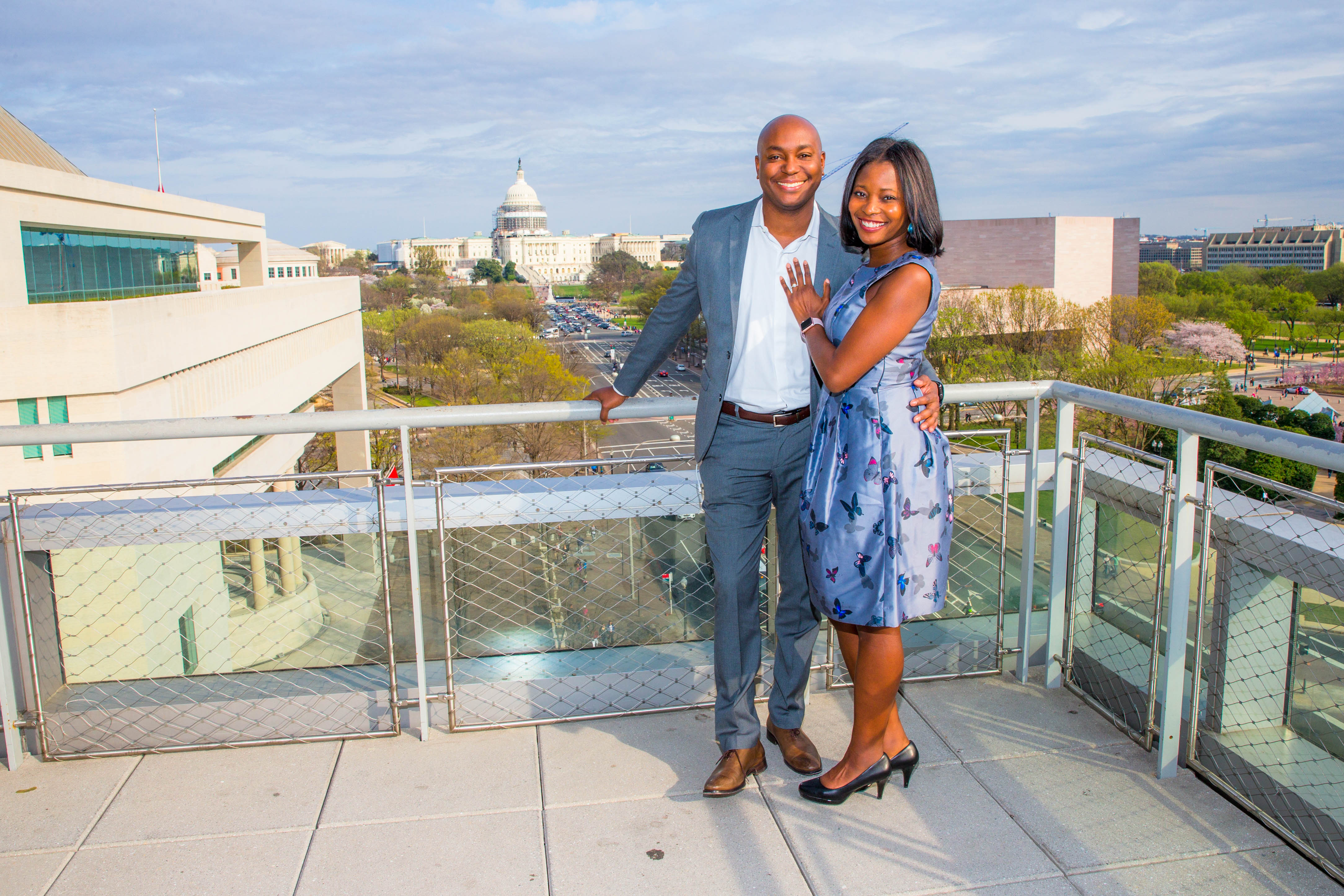 Darren and jummy surprise engagement photo shoot at newseum for Surprise engagement photo shoot