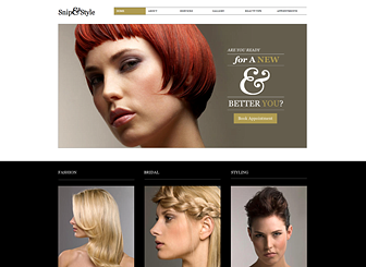 Hairdresser Site Template - A chic and polished website template for your hairdressing business or beauty salon. Add text to advertise your rates and upload photos to create an inspiring gallery of styles. Customize the design and color scheme to express your aesthetic.