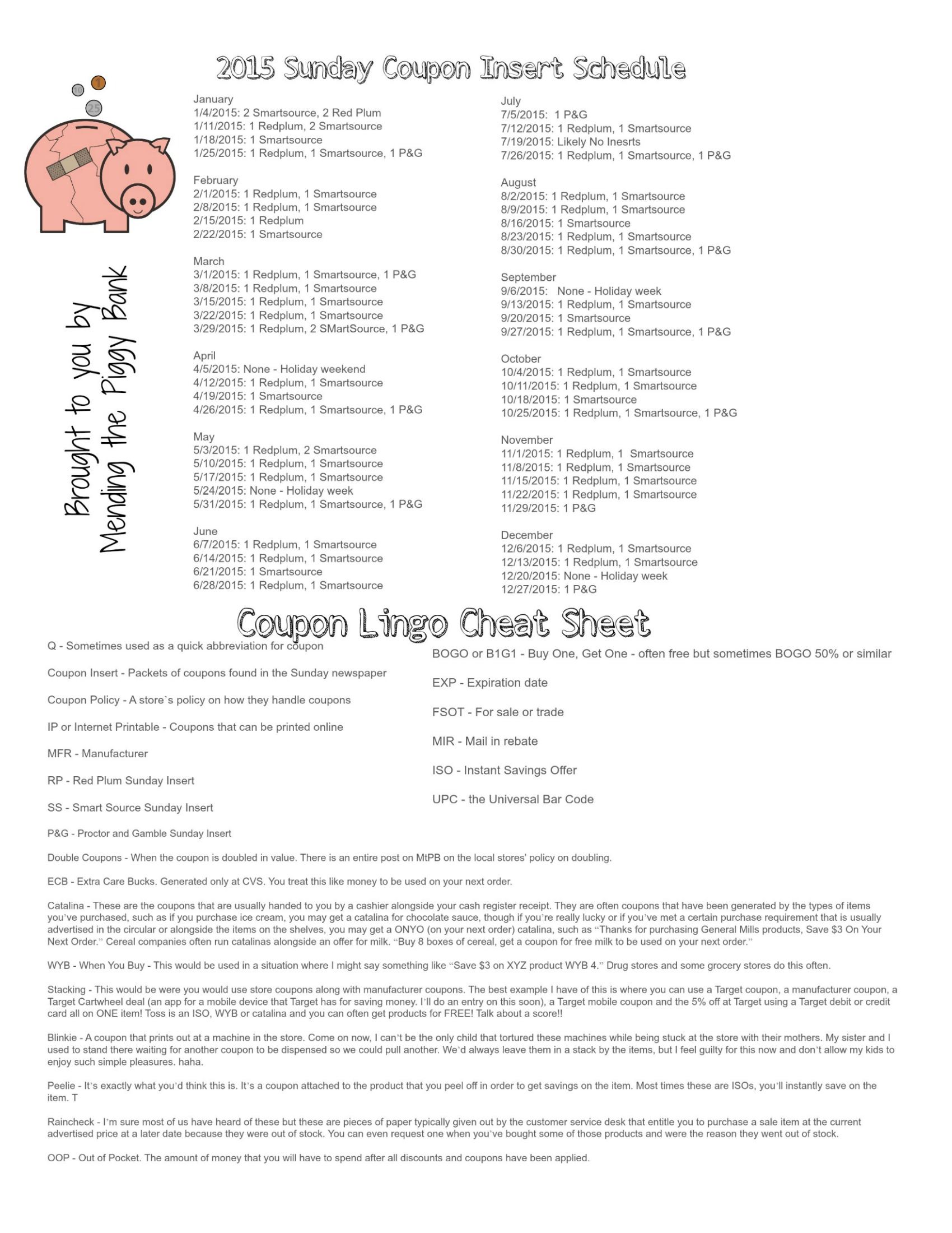 FREE PRINTABLE 2015 Sunday Coupon Insert Schedule and Coupon
