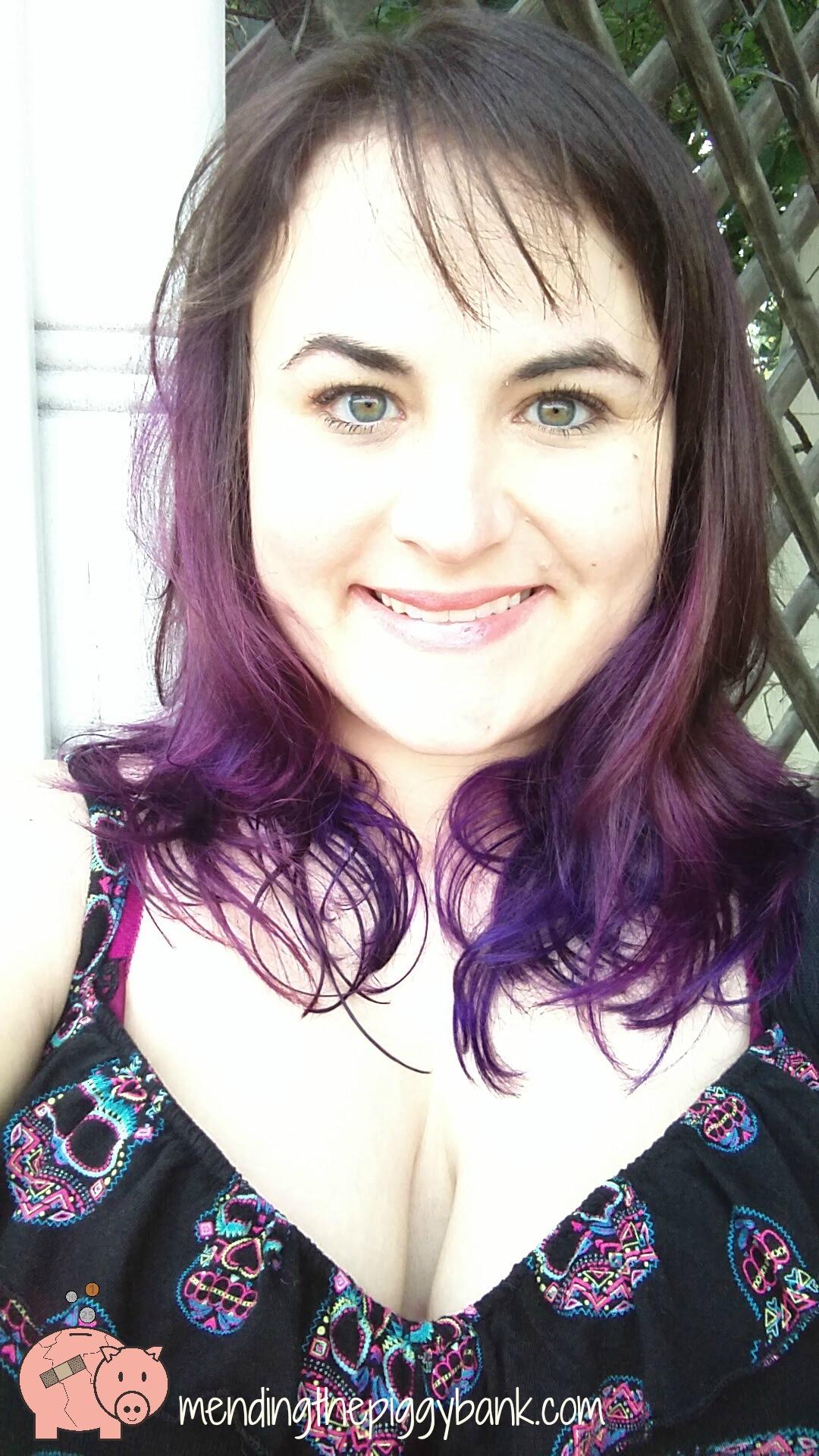 My new purple hair mending the piggy bank for 5th avenue salon carlisle pa