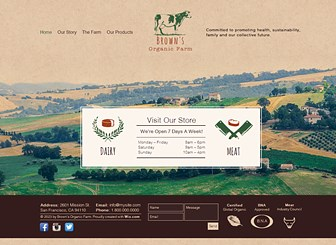 Organic Farm Template - This warm, rustic website template radiates a genuine homeliness and is perfect for your local, family-run farm. Customize the colors and fonts to reflect your personal style. Ready to go in minutes, simply edit the images and text to create a charming website that represents your organic farm!
