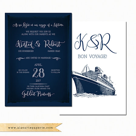 Cruise ship wedding invitation rsvp info card set for Electronic destination wedding invitations