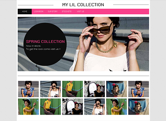 Lil Collection Template - With modern fonts and stylish design, this free template is ready to take your retail business or fashion house to the online runway. Use the photo galleries to flaunt your latest styles, and change the text to tell the story of your brand. Start editing to create a vibrant website that will turn heads!