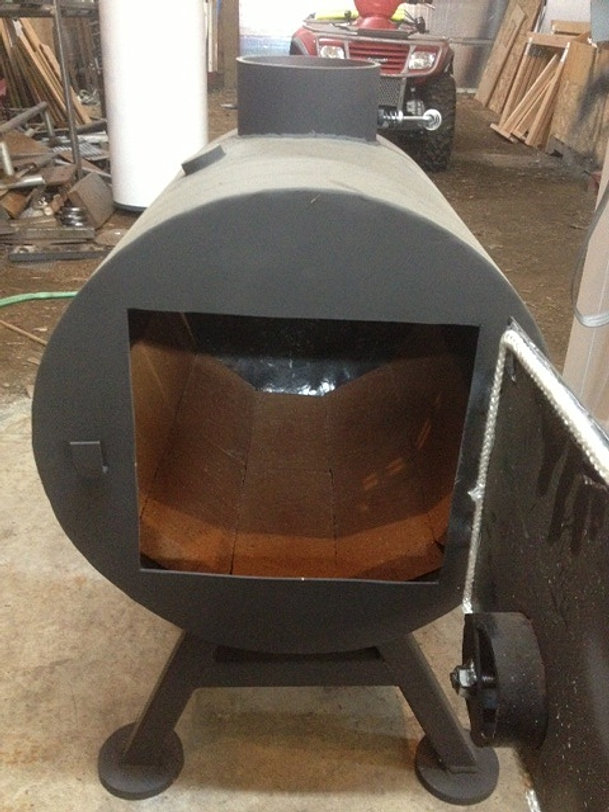 Half barrel stove with firebrick - Second Round Wood Stoves Shop Stoves