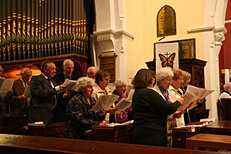 Choir in full song.