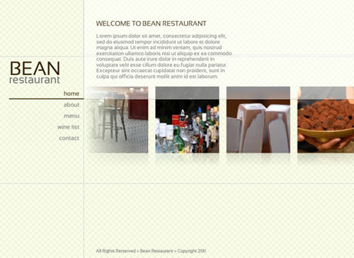 Green Cuisine Template - Customize this clean, modern web design to suit all of your restaurant needs. Minimal color and fuss enables your content to shine on its own. Add menus, wine lists and location maps.