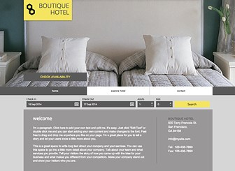 Boutique Hotel Template - Convey the luxurious atmosphere of your hotel with this elegant template. Draw attention to your rooms, rates, and facilities by uploading photos and adding text. Start editing to build your online presence!
