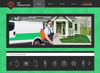 Pest Control Template - Take your niche business online with this fun and unique website template. This easy-to-customize template has ample space to advertise your services and upload photos to convey a personable and professional image to customers. Start editing now to build a personalized website that reflects your business!