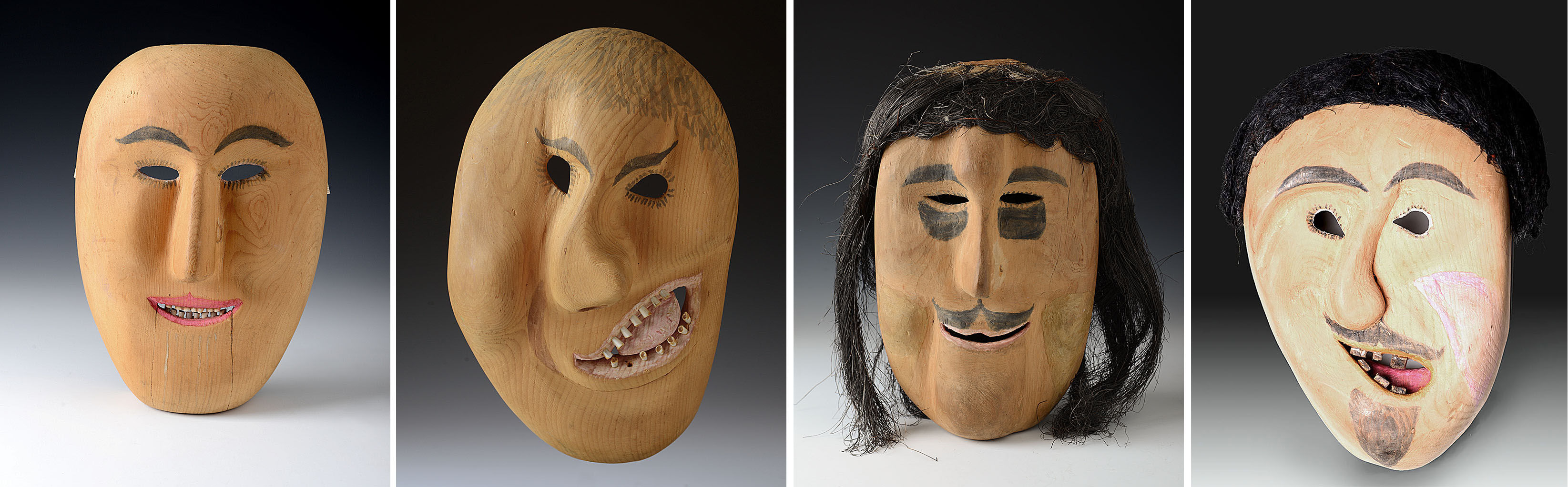 Collection of 4 Eskimo Masks