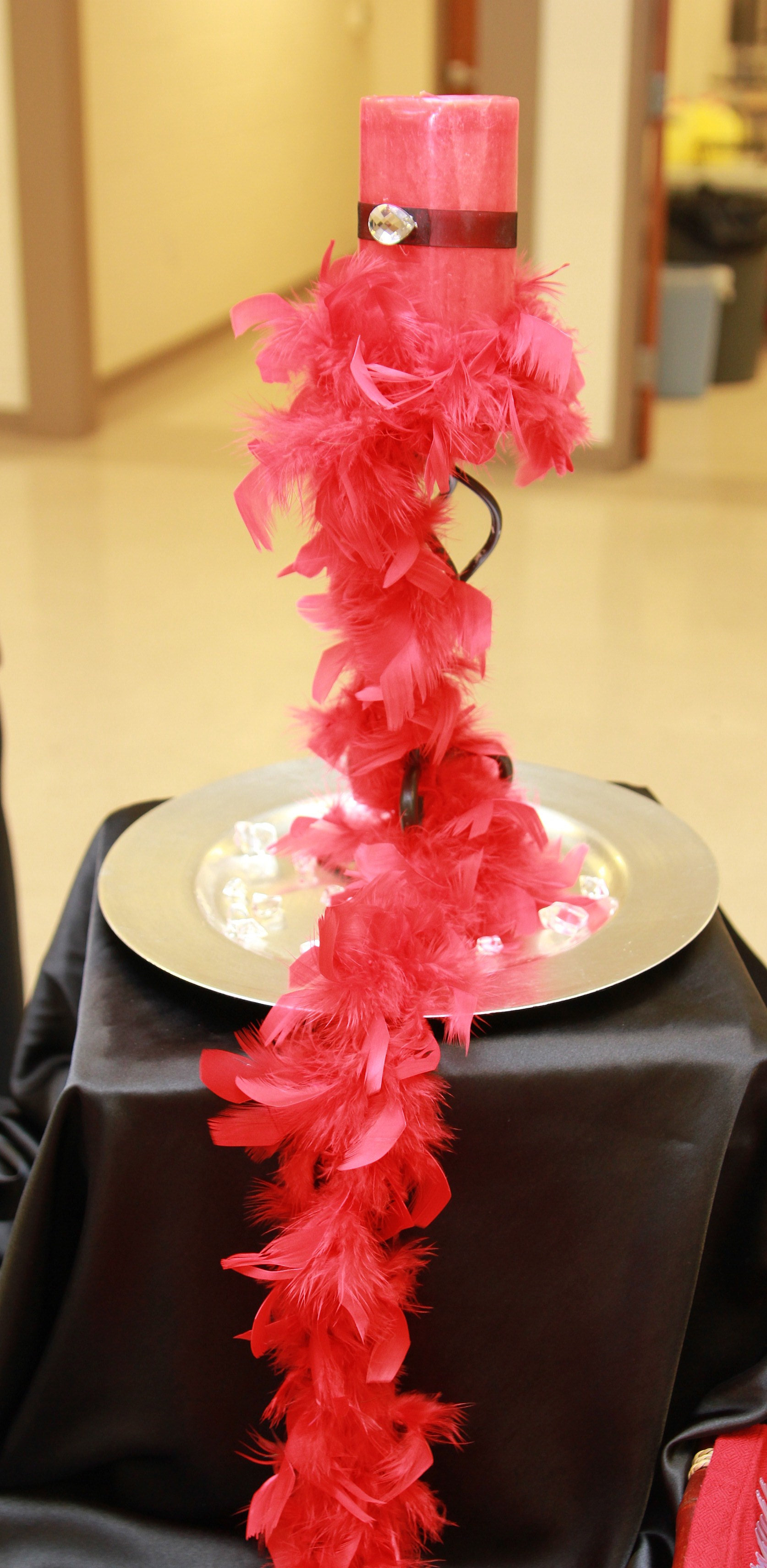 Event planner feather boa centerpiece