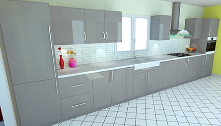 Dynamique agencement rendered 3d kitchen made 3d images - Cuisine ikea blanche ...