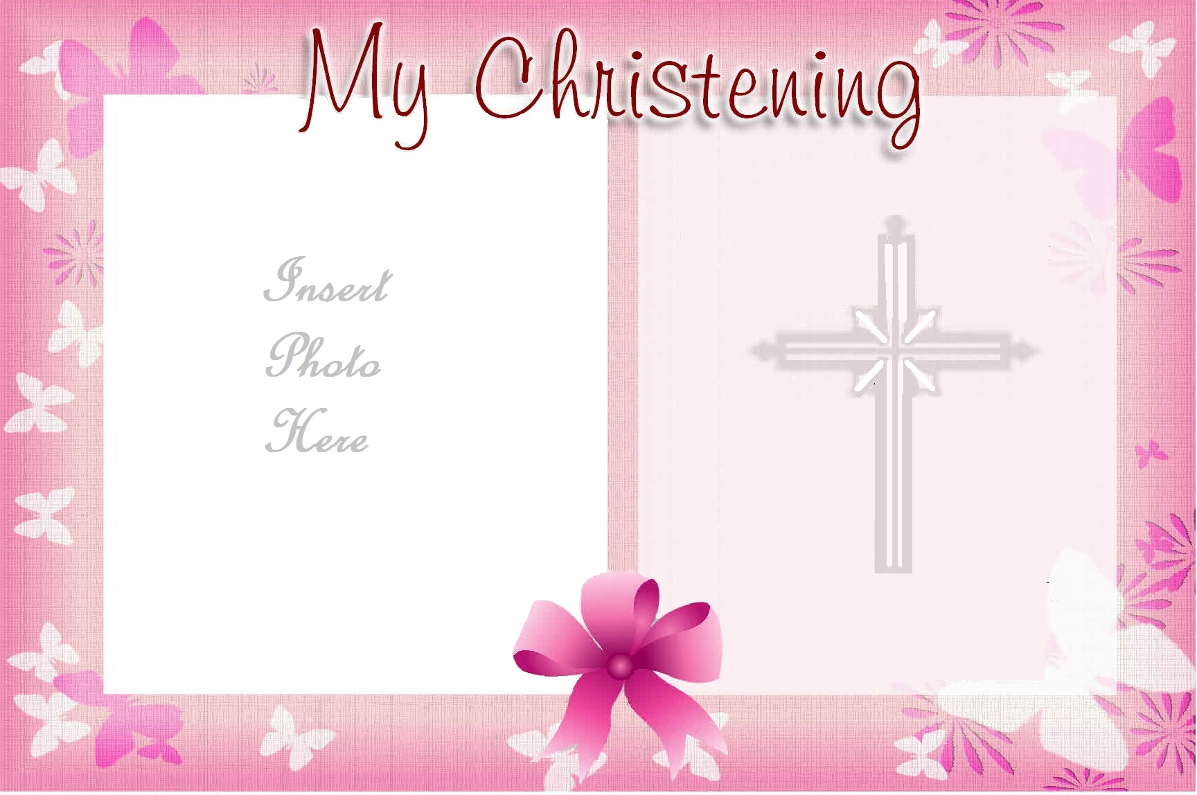 Christening background for baby girl