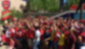 The Boston Gooners following a match in front of Lir on Boston's Boylston Street