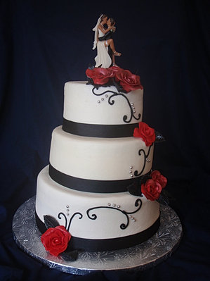 Black And White And Red Wedding Cakes