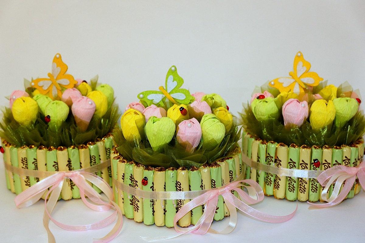 Как сделать корзинки для цветов с конфетами