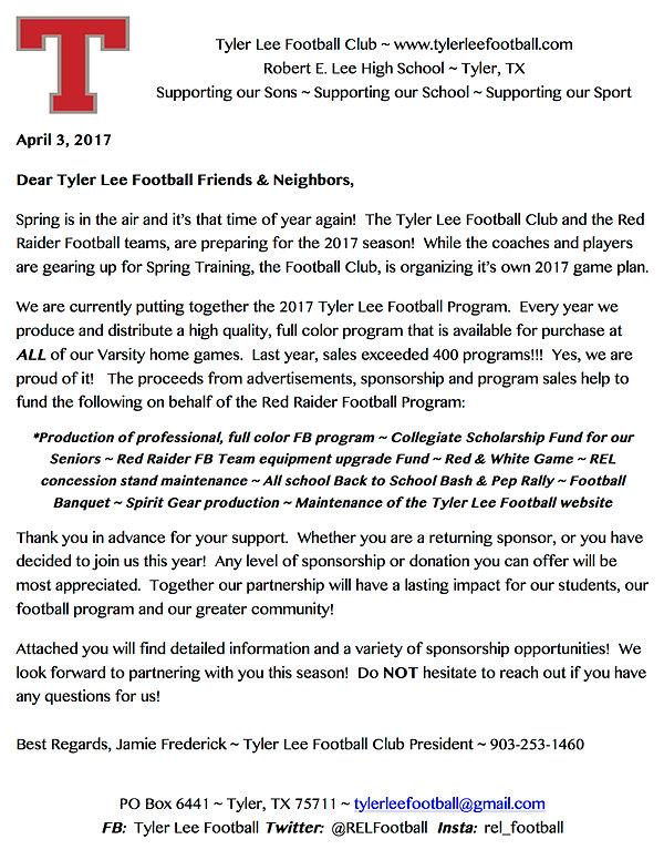 Tyler Lee Football | Spirit Ad Sponsor Form