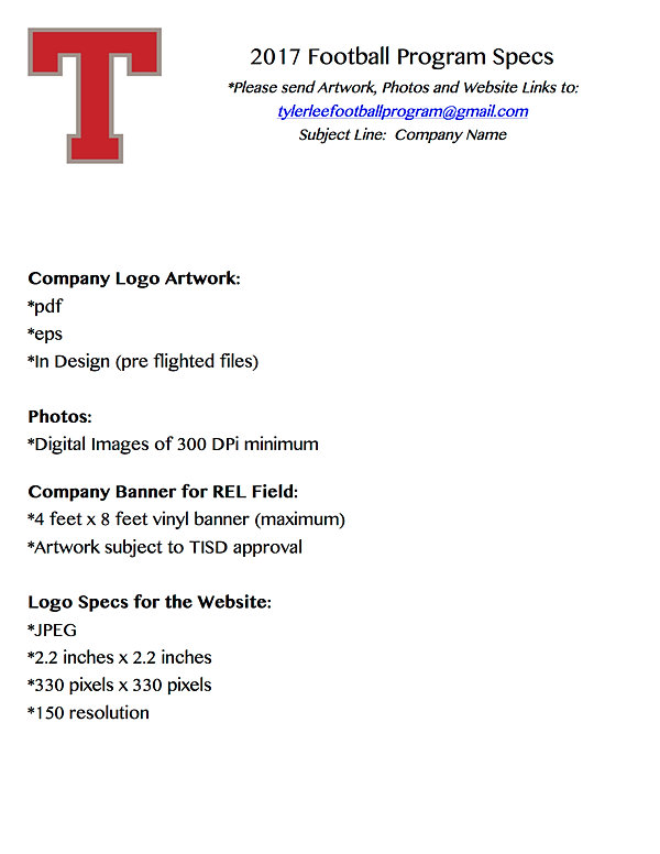 Tyler Lee Football  Premier Corporate Sponsor Form