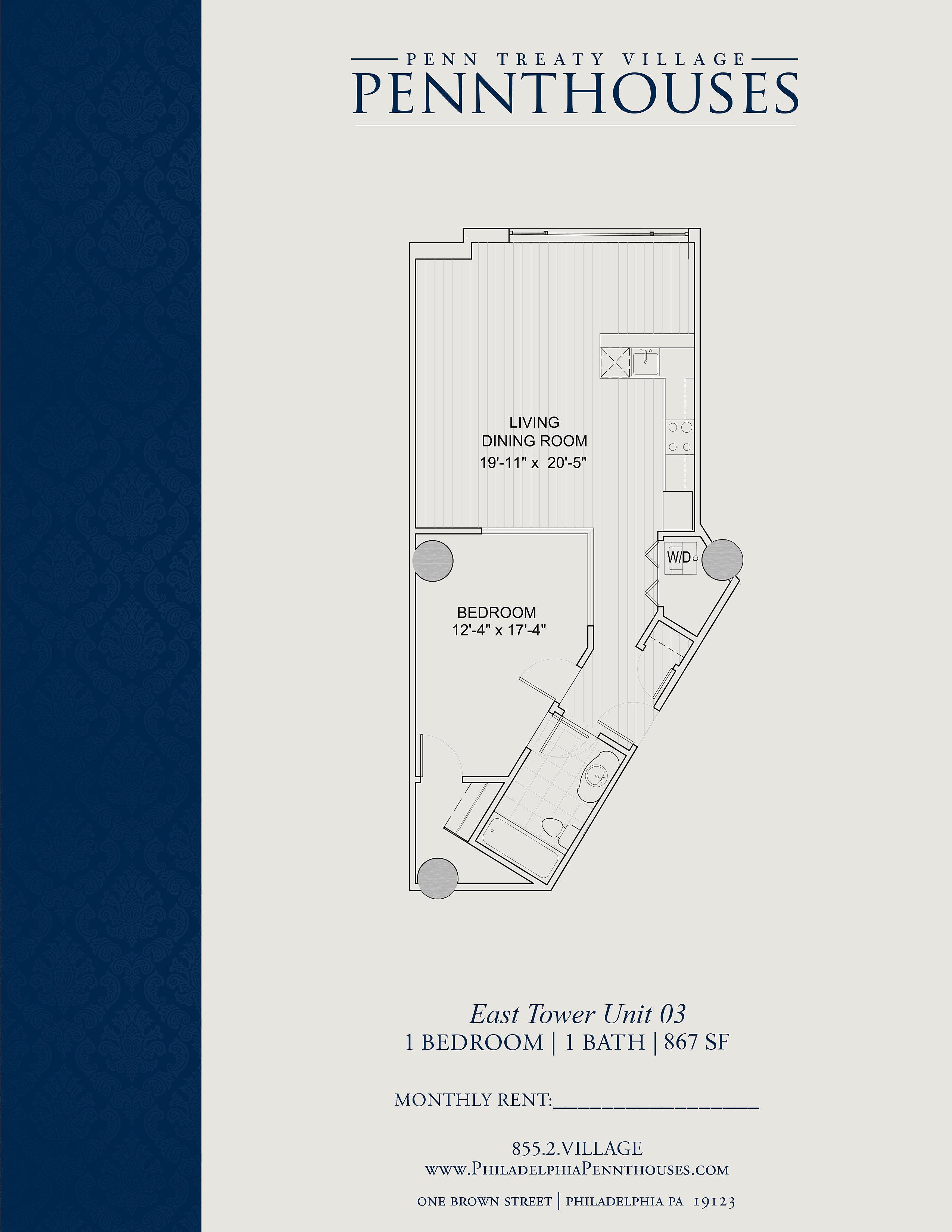 Penn Treaty Village Pennthouses Luxury Apartments In Philadelphia East Tower Unit 03