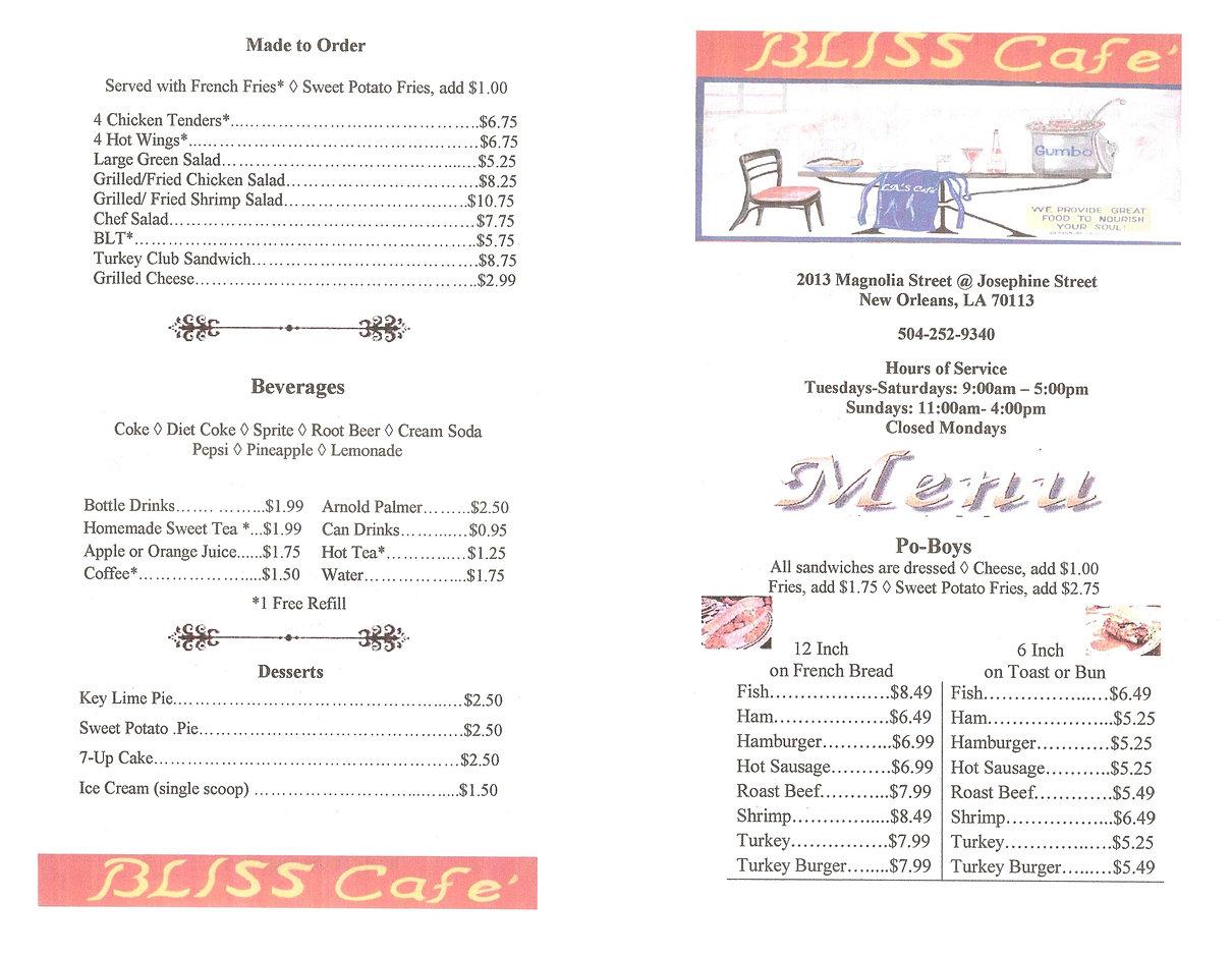 Cafe Bliss Menu