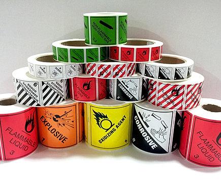 Dangerous goods labels, dangerous goods placards, class labels, chemical hazchem labels, class diamonds