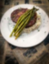 Prime Ribeye, asparagus and mashed potatoes