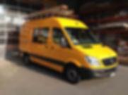 Lackierung Kastenwagen Mercedes Sprinter gelb Baustellenfahrzeug Kläsi Fahrzeugbau Amriswil Thurgau Ostschweiz