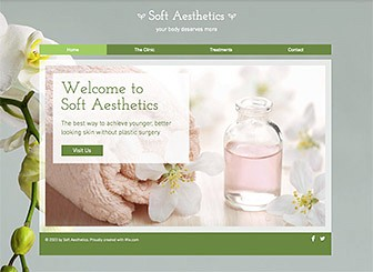 Spa Clinic Template - The earthy colors and minimalist layout of this template match the soothing atmosphere of your health spa, resort, or beauty salon. Customize the text and upload photos to advertise your treatments and rates. Start editing to create an elegant and professional website!