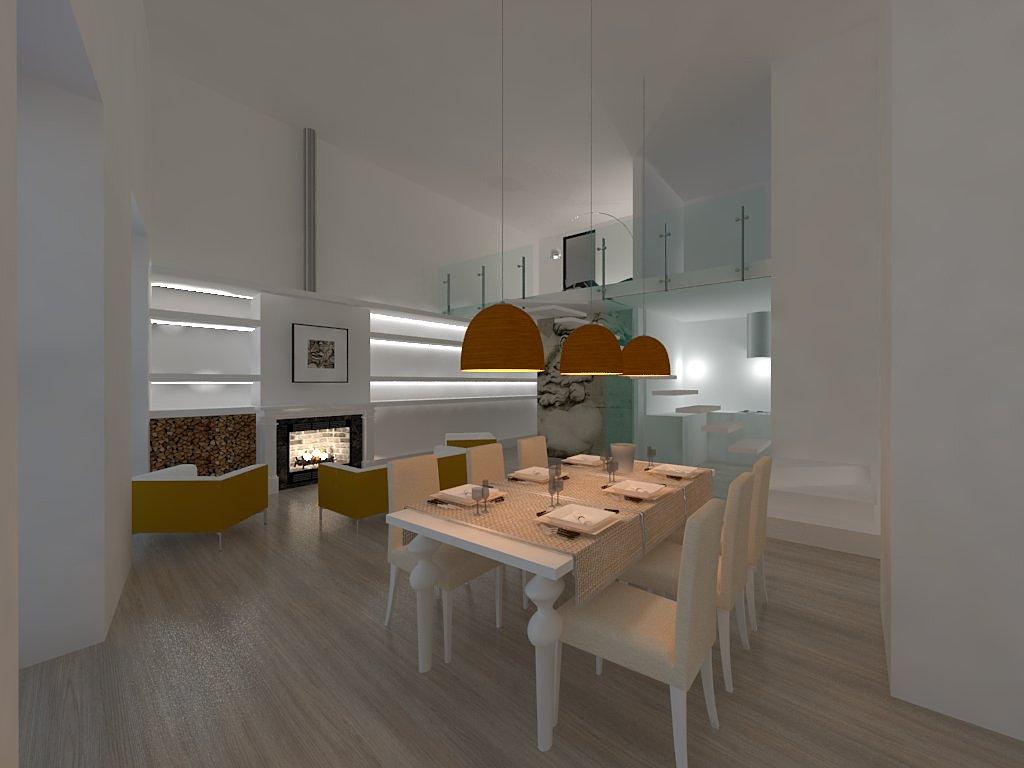 Gatti  costruire e ristrutturare casa a Cagliari  Render - parete attrezzata e camino