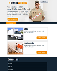 Moving Co FB Template - This professional website is smart and exudes success and friendliness. Perfect for any service business, customize it and take your business online.