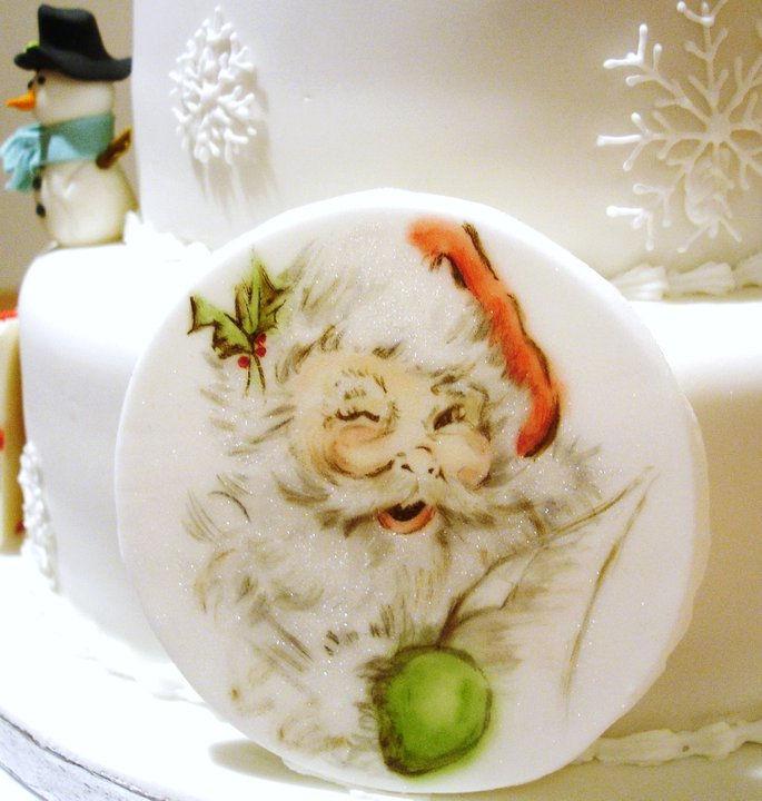 Santa edible Painted Plaque