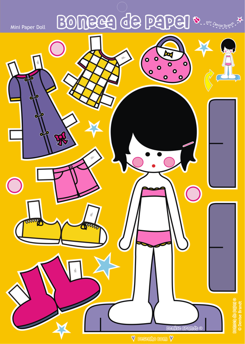 Mini Boneca de Papel 01 - Pacote com 5 unidades | Boneca ...
