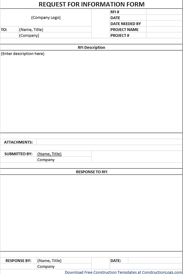 Free Request for Information RFI Form Template – Information Form Template Word