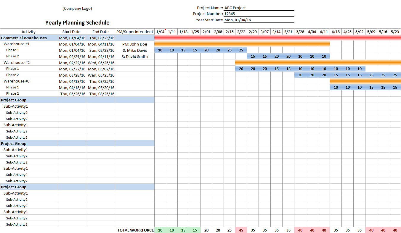Scheduling Excel Template