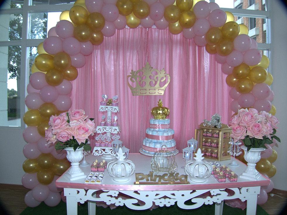 decoraç u00e3o provençal princesa coroa rosa e dourada
