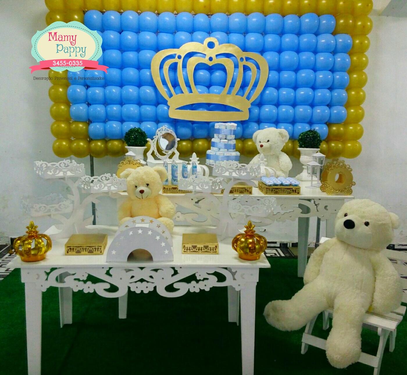 Coroa De Principe Decoração Azul E Dourado